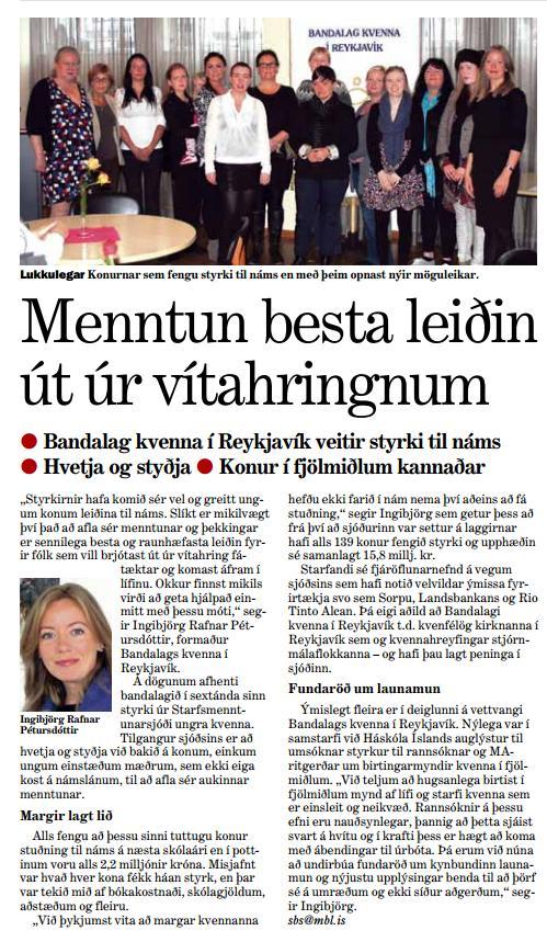 Viðtal við formann BKR í Morgunblaðinu, sunnudaginn 15. september 2013